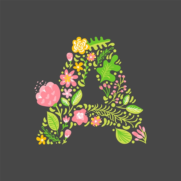 Floral Summer Letter A  Flower Capital Wedding Uppercase