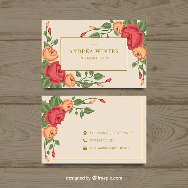 Floral Template For Business Card With Flat Design Free Vector