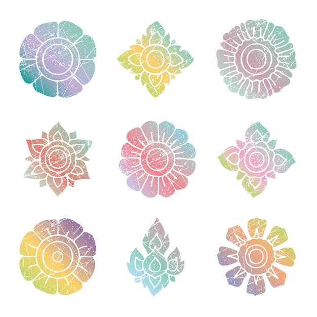 Floral thai colorful grunge vector set Free Vector