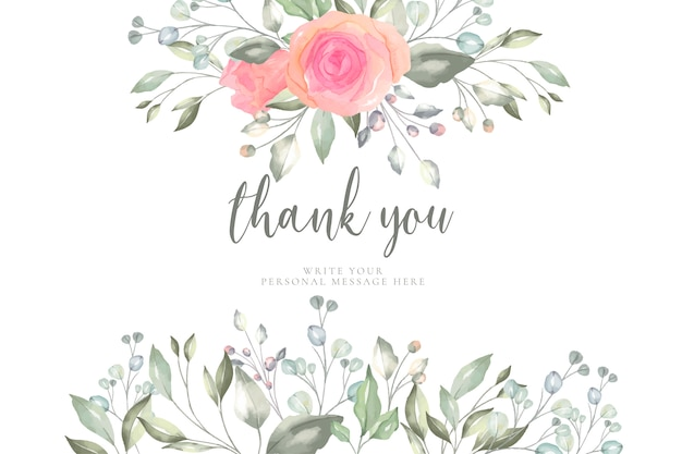 floral thank you card template free vector. Black Bedroom Furniture Sets. Home Design Ideas