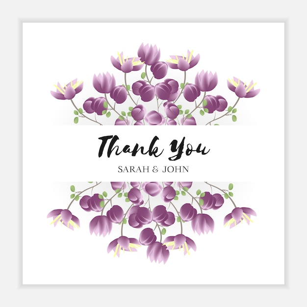 Floral thank you card with purple flower frame Premium Vector