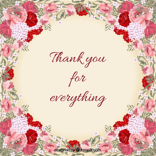 Floral thank you card Vector – Thank You Card Templates Free Download