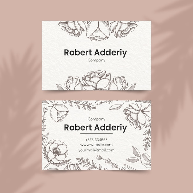 Floral theme for business card template Free Vector