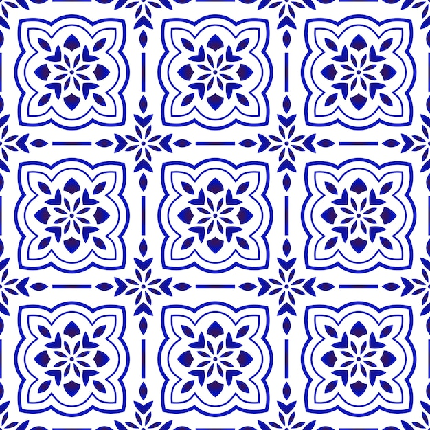 Floral tile pattern Premium Vector