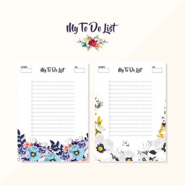 Floral to do list designs Free Vector