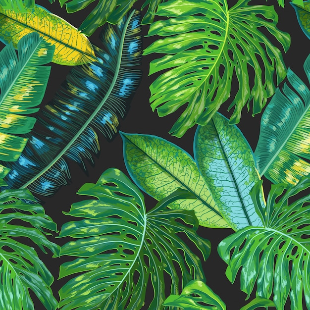 Floral tropical seamless pattern palm leaves background Premium Vector