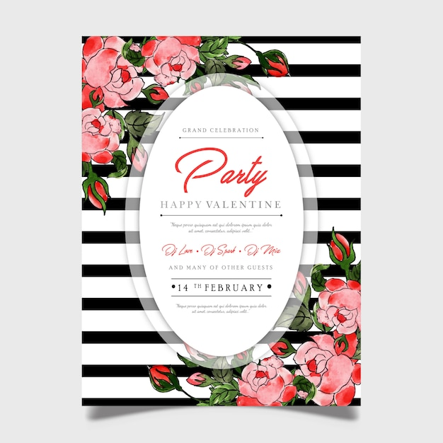 Floral valentine party poster Premium Vector