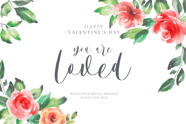 Floral valentine's day background with love message Free Vector