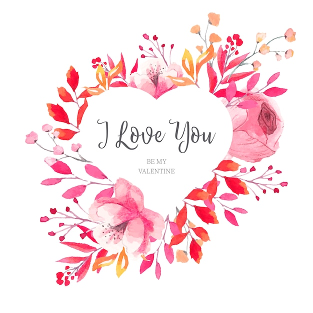 Floral valentine's heart frame with watercolor leaves Free Vector