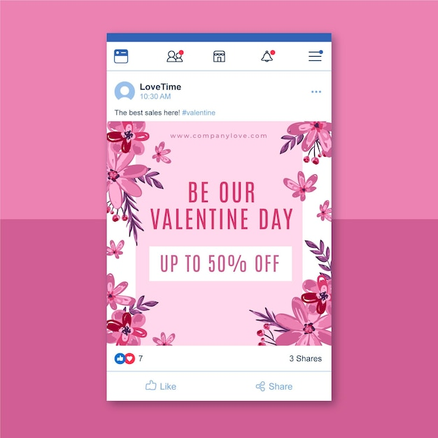 Modello di post facebook floreale di san valentino Vettore gratuito