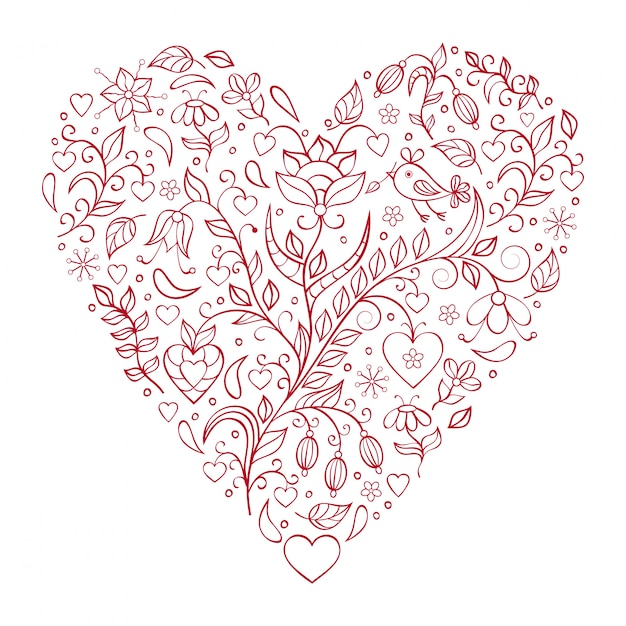 Floral valentines heart Premium Vector