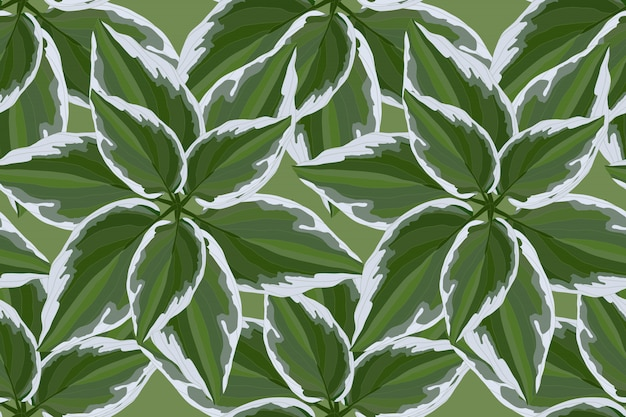 Floral vector seamless pattern with green leaves Premium Vector