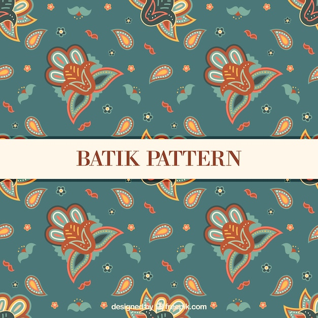 Floral vintage pattern in batik style Premium Vector