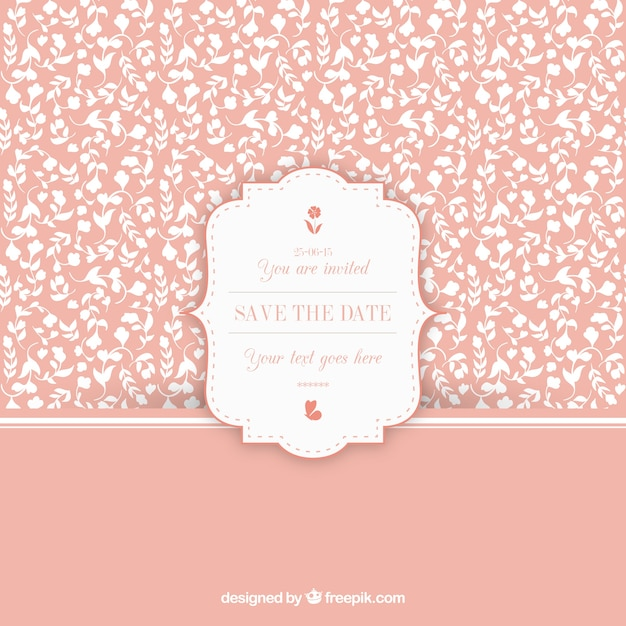 Floral vintage pattern with wedding invitation label vector free floral vintage pattern with wedding invitation label free vector stopboris Choice Image