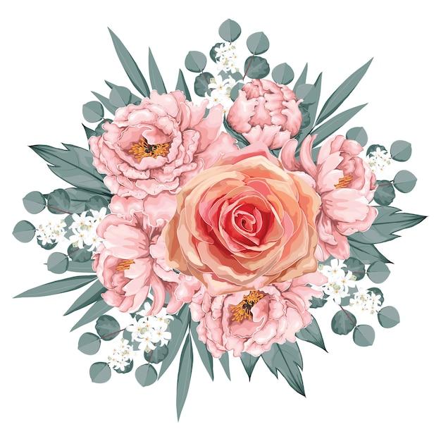 Floral vintage pink rose Premium Vector