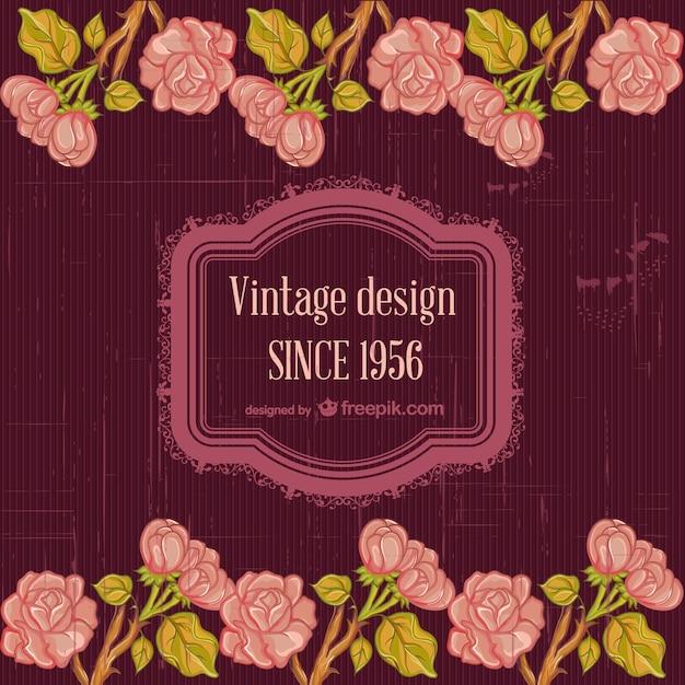 Floral vintage template design Free Vector