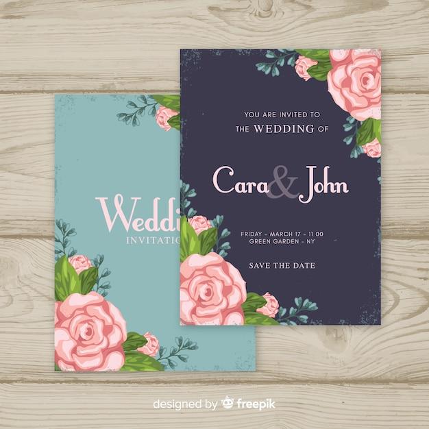 Floral vintage wedding invitation template Free Vector