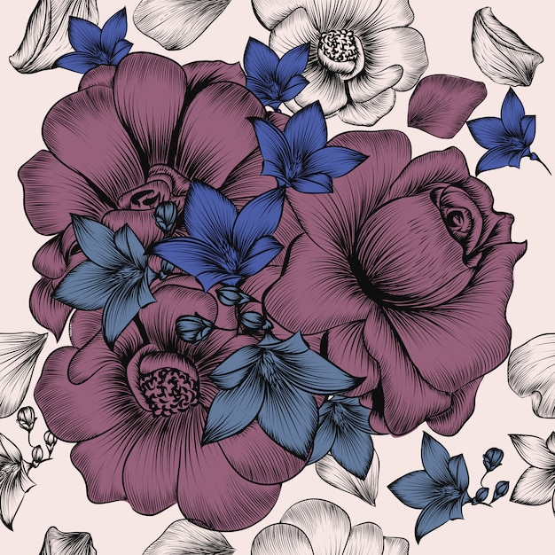Floral wallpaper pattern with engraved hand drawn flowers in vintage style Free Vector