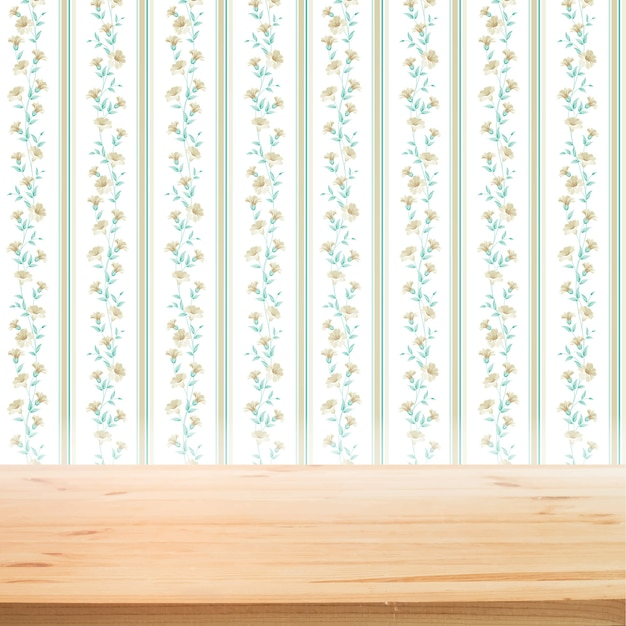Floral wallpaper with wooden table for product presentation background Free Vector