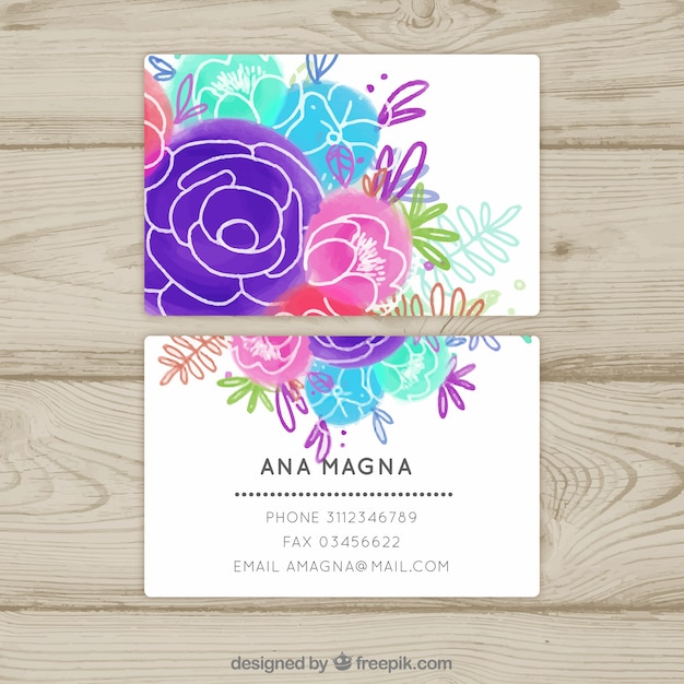 Floral water color business card Free Vector