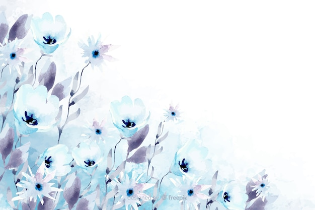 Floral watercolor background with soft colors Free Vector