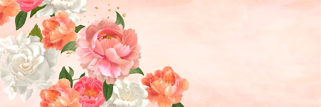 Floral watercolor banner Free Vector