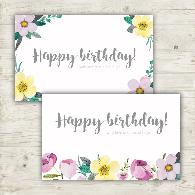 Floral watercolor birthday cards Free Vector