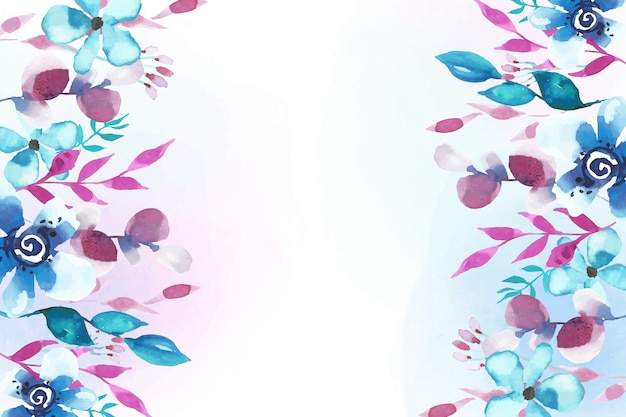 花の水彩デザインの背景 無料ベクター