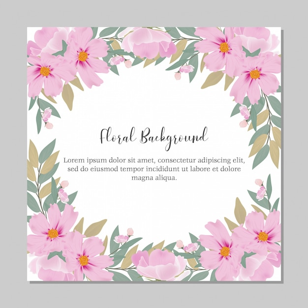 Floral watercolor frame multi purpose template Premium Vector