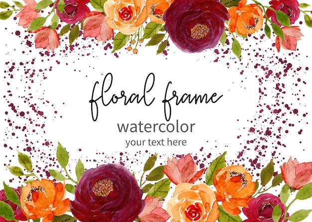 Floral watercolor frame with dots background Premium Vector