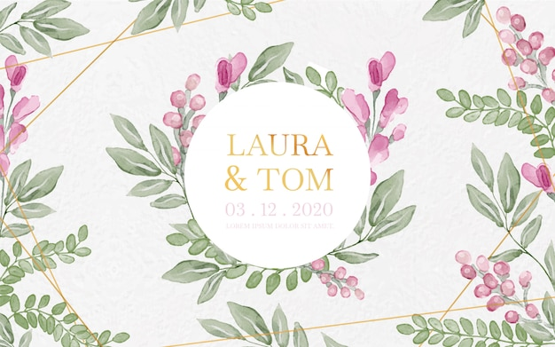Floral watercolor and gold wedding background Free Vector