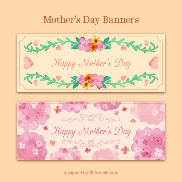 Floral watercolor hand painted mother\'s day\ banners