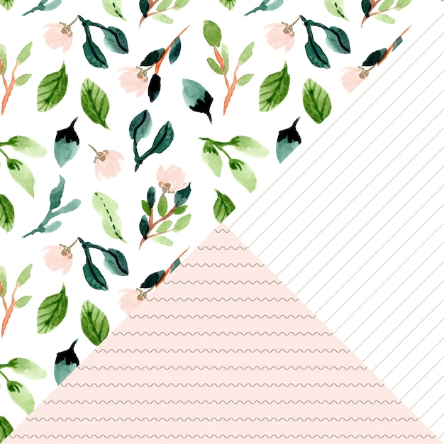 Floral watercolor and line seamless pattern Premium Vector