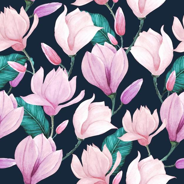 Floral watercolor pattern seamless Premium Vector