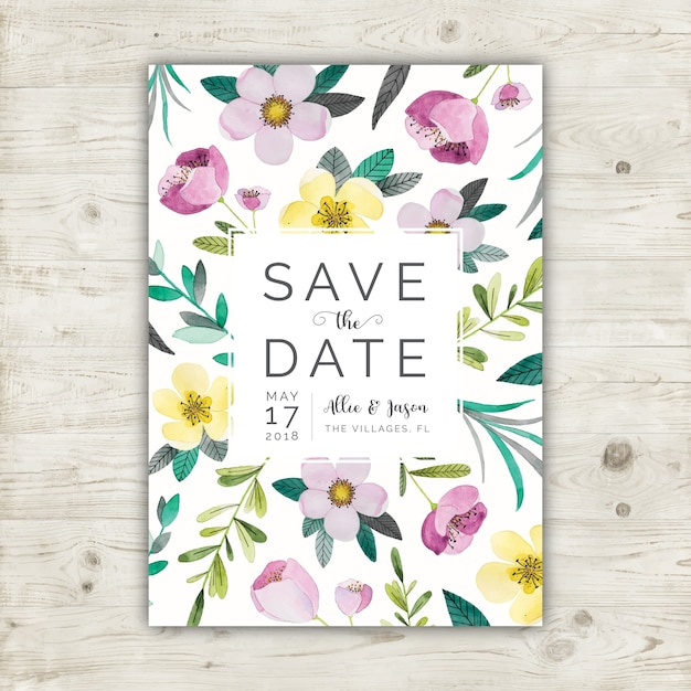Floral watercolor save the date card Free Vector