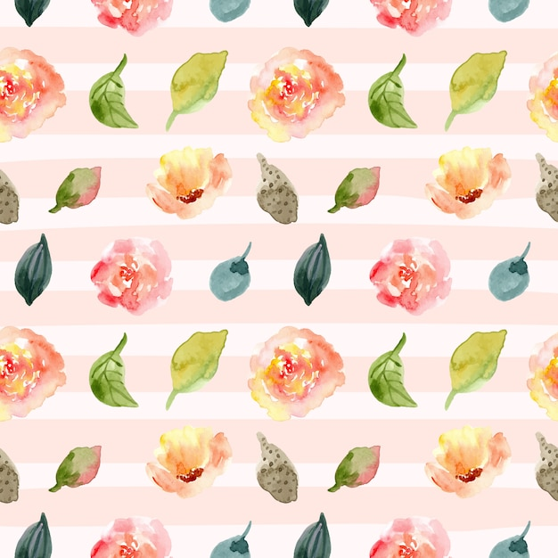 Floral watercolor seamless pattern and line background. Premium Vector