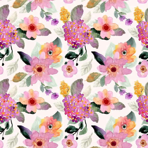Floral watercolor seamless pattern Premium Vector
