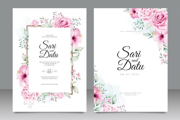 Floral watercolor wedding inviation card template Premium Vector