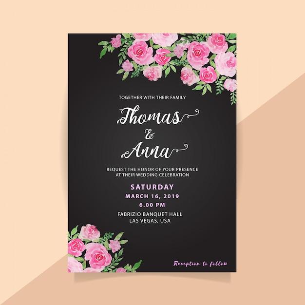 Floral watercolor wedding invitation in black background Premium Vector