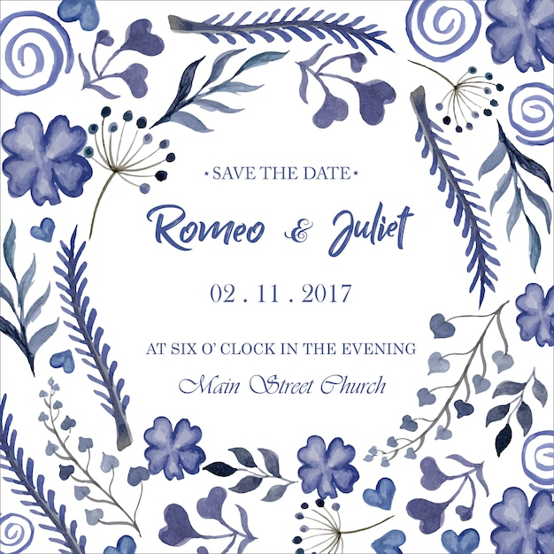 Floral Watercolor Wedding Invitation Template Free Vector