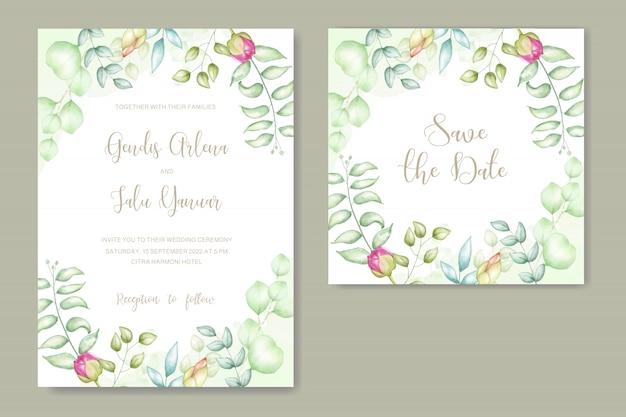Floral watercolor wedding invitation Premium Vector