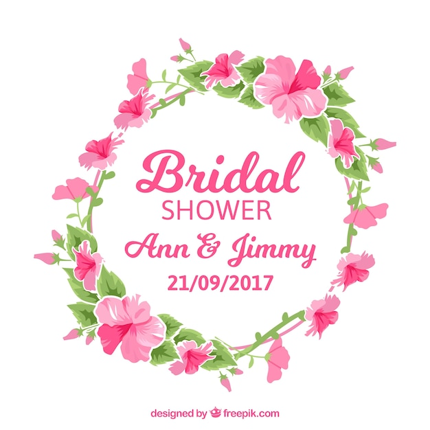 Floral watercolor wreath of bridal shower party Free Vector