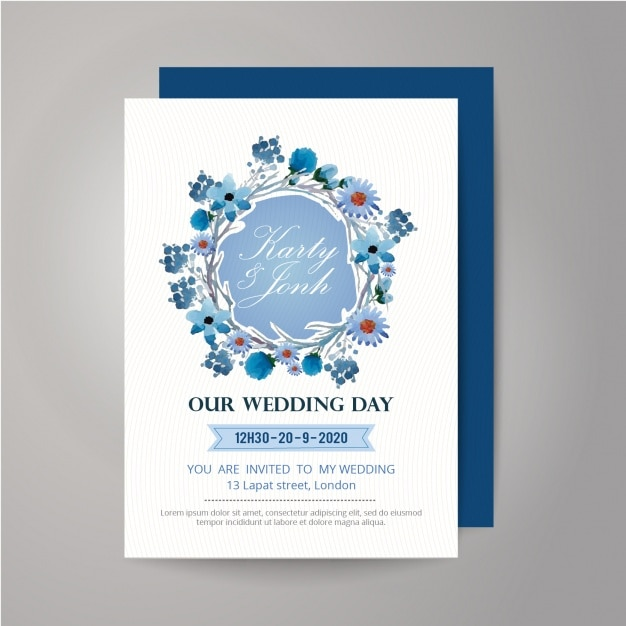 Floral wearth wedding invitation design Free Vector