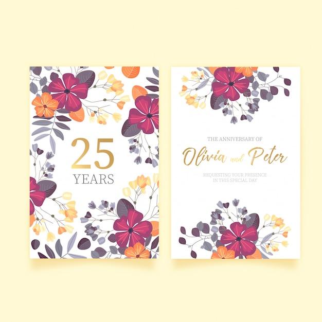 Floral wedding anniversary invitation vector free download floral wedding anniversary invitation free vector stopboris Image collections