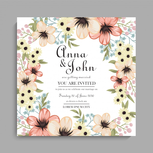 Floral wedding background  yellow floral pattern Free Vector