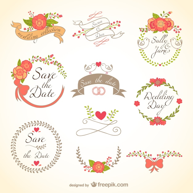 Floral wedding badges Vector | Free Download