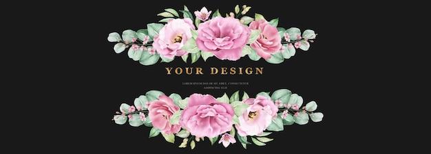 Цветочный свадебный баннер шаблон с розовыми розами, цветами и листьями Бесплатные векторы