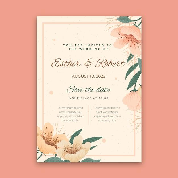 꽃 웨딩 카드 개념 무료 벡터