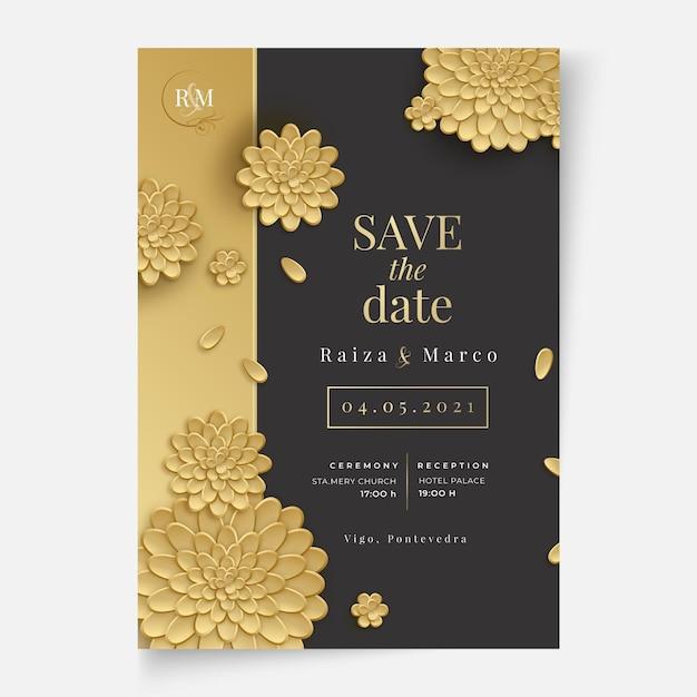 花のウェディングカードのコンセプト 無料ベクター