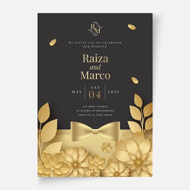 Concetto di carta di matrimonio floreale Vettore gratuito
